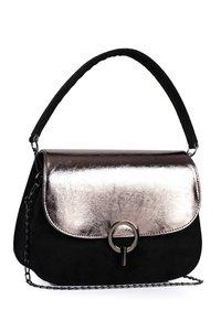 Handtas - Zwart met zilverkleurig detail