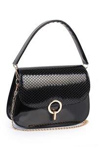 Handtas - Zwart met ruitjespatroon